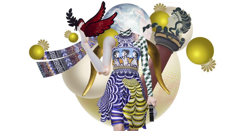 The Greek Designers-Mary Katrantzou-Decodes Minoan figure-Artwork Isabel Chiara