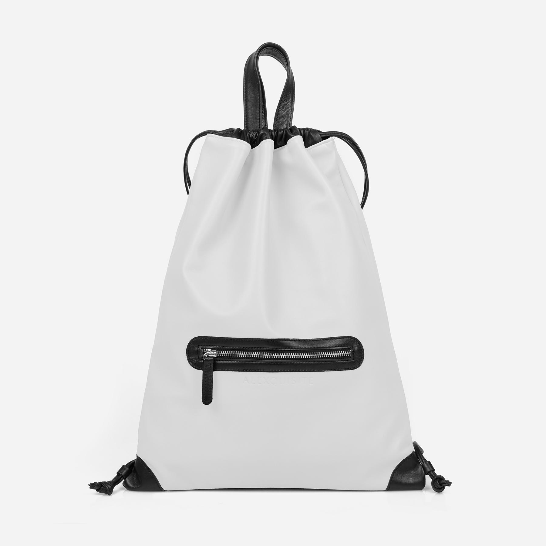 04973193c1ad9 ALEXQUISITE Essential Drawstring Backpack White