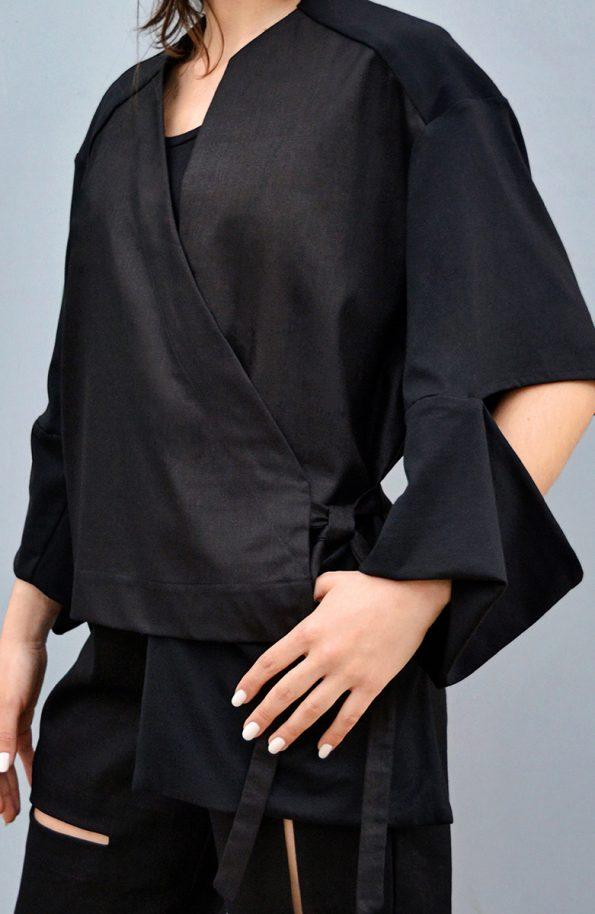CLON8 Slash Asymmetrical Wrap Jacket