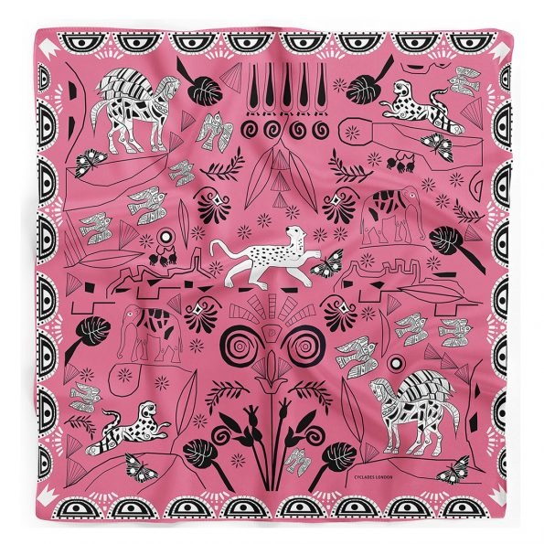 CYCLADES Silk Scarf Jungle Pink