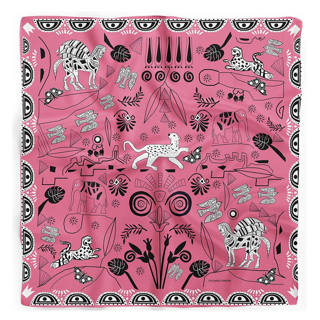 CYCLADES Silk Scarf Jungle Pink