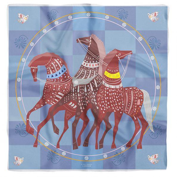 CYCLADES Silk Scarf Lucky Horses