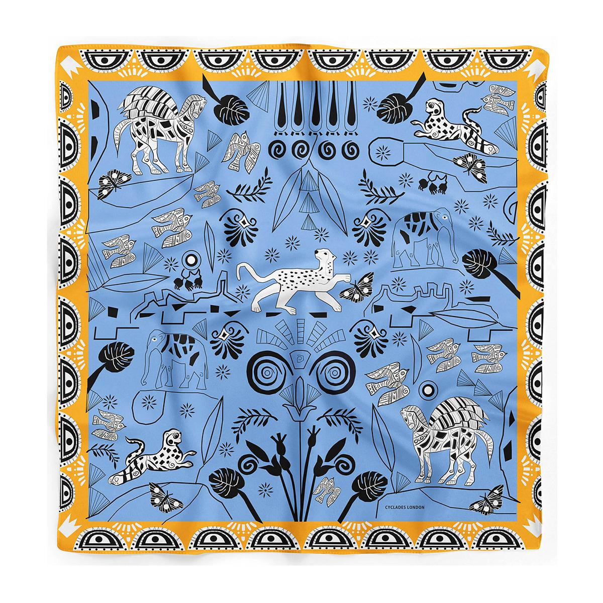 CYCLADES Silk Scarf Jungle Blue