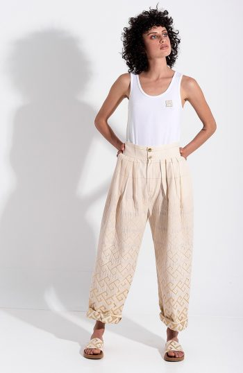 ERGON MYKONOS Isidora Trousers Gold Meander